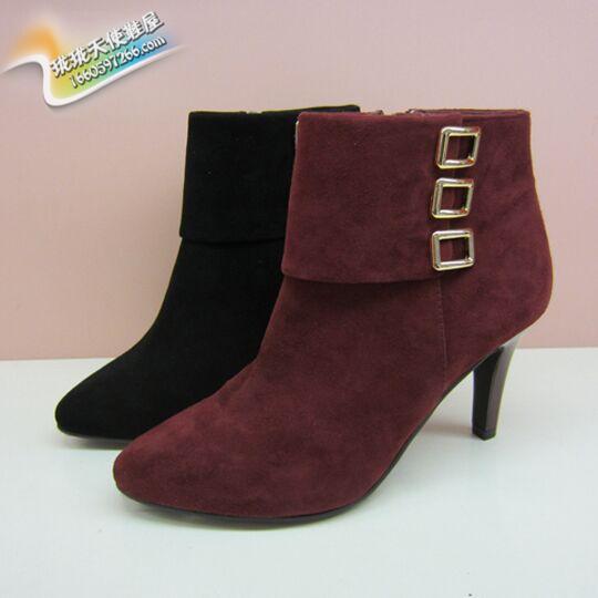 哈森女鞋专柜正品短靴2015新款秋冬高跟细跟尖头真皮靴子 HA52453
