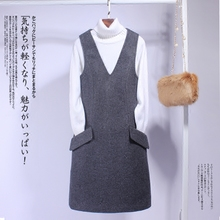 New Korean style vest skirt with woolen bottom