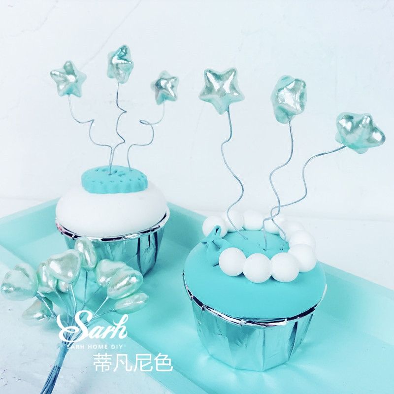 USD 4.91] Japanese pearlescent small balloon wire love stars cake ...