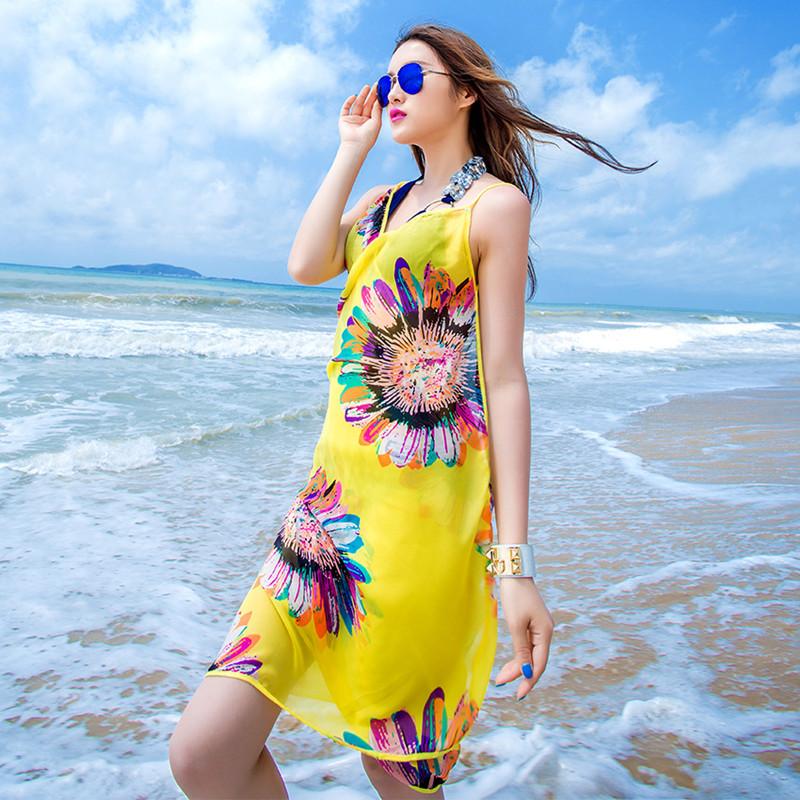 沙滩裤海边度假复古情侣游泳衣套装女三件套比基尼小胸泡温泉泳装