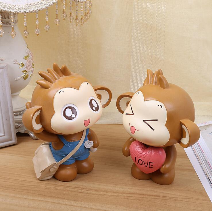 猴年车内饰品摆件可爱love猴子悠嘻猴树脂创意汽车装饰小摆件室内