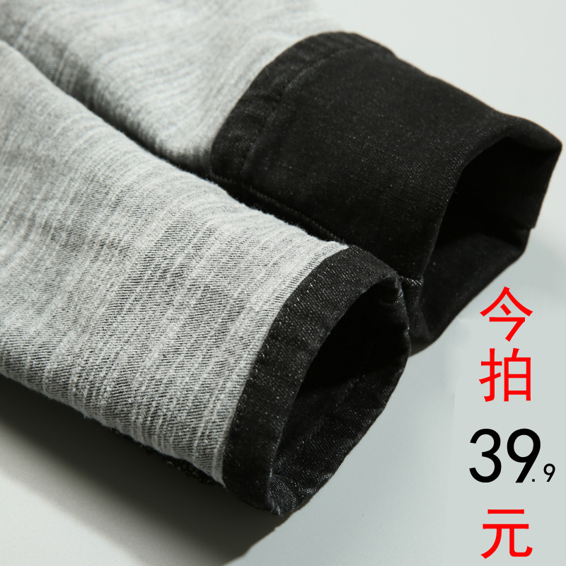 Autumn outfit New Black plush jeans women trousers high waist tight slim bottom feet pencil trousers winter