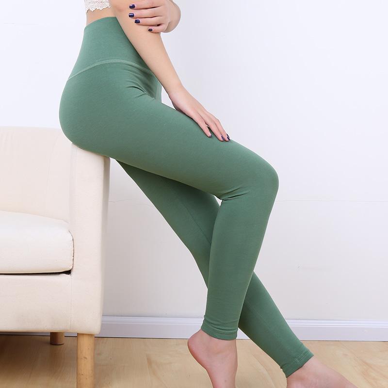 Trung bình và cao eo quần dài đơn giản phần mỏng mảnh duy nhất quần ấm bông mặc quần của phụ nữ quần quần kích thước lớn mỏng xà cạp