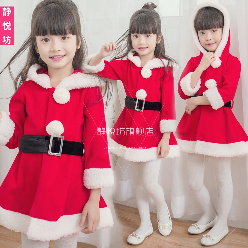 japan childrens christmas costumes santa claus dress up girls show clothing long sleeve christmas costumes