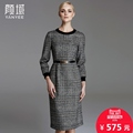 Yan Yu winter 2016 new brand in Europe t Plaid Tweed dresses with long warm base