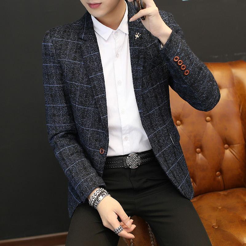 韩版潮流单件西装上衣西服春秋小西装修身青年帅气时尚v潮流外套男