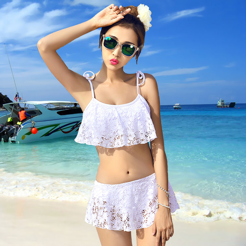 Swimsuit Female White Lace Ruffled Small Chest Steel Plate Gathered