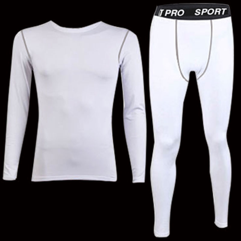 Autumn sports long-sleeved white tights men's bottom basketball training children's trousers suit running fast dry fitness clothes