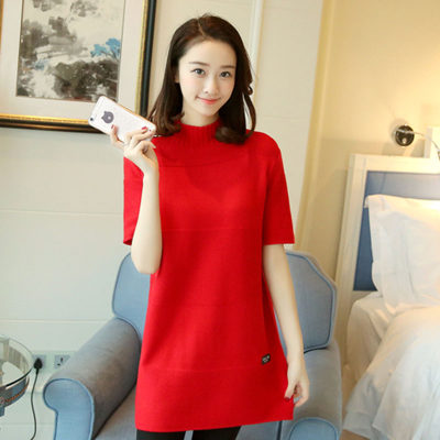 Autumn and winter new sweater women's head sweater long paragraph high collar short-sleeved loose large size bottoming shirt