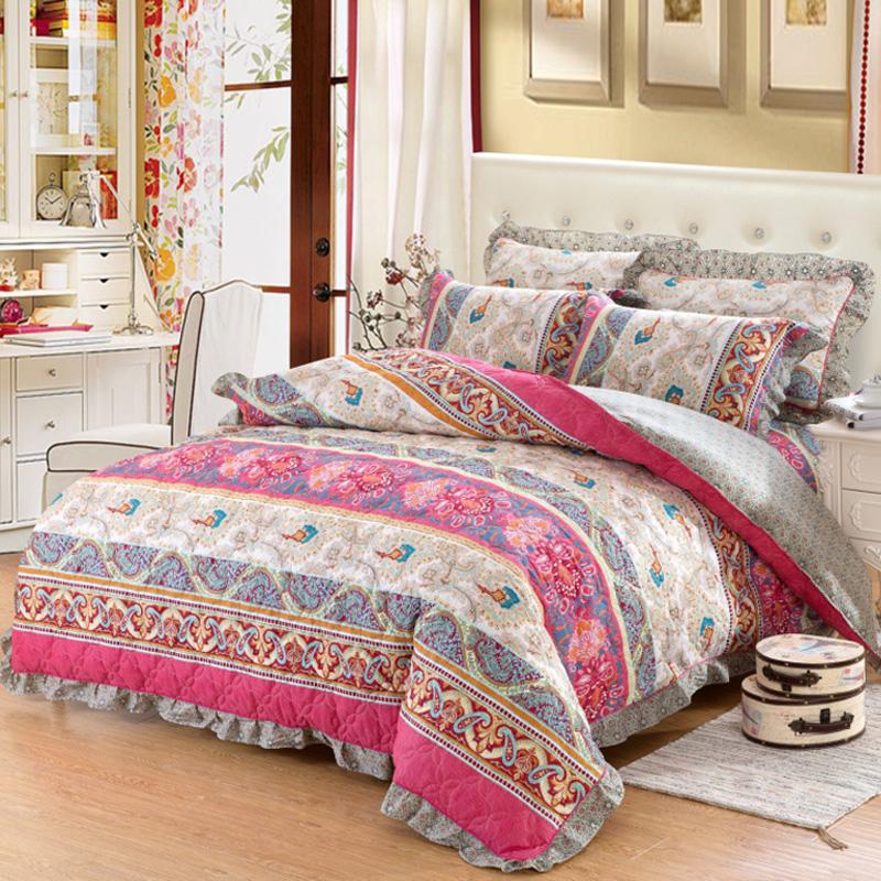 欧惠雅绗缝全棉加厚夹棉床裙床罩四件套 纯棉被套加棉保暖冬4件套