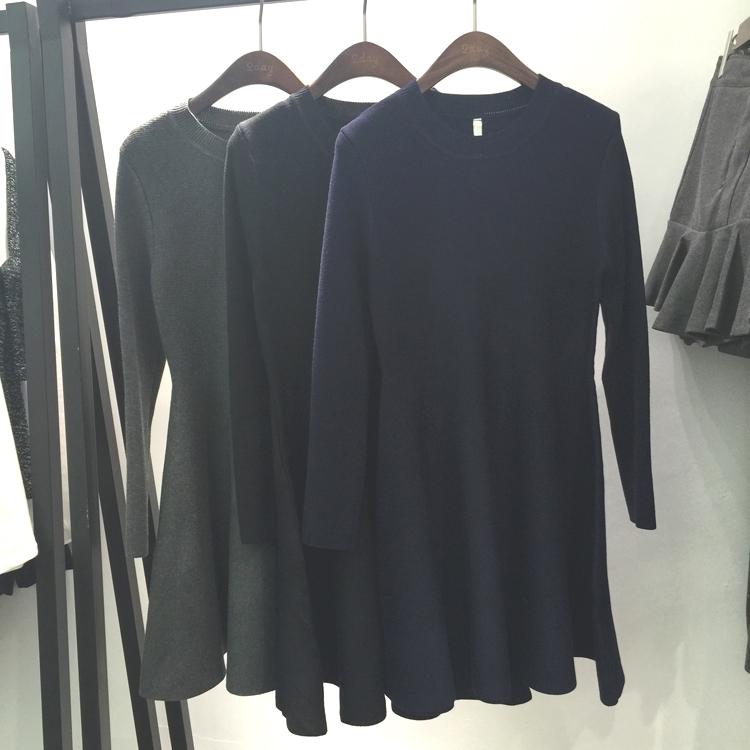 冬装小香风格子毛衣裙下摆拼接蕾丝打底裙荷叶边针织连衣裙假两件