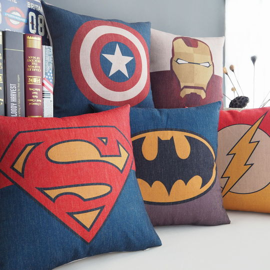 Superman Batman, Green Lantern, Captain America, Iron Man cotton pillowcase pillow on the sofa cushion lumbar pillow