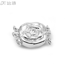 DT new fashion 925 silver pearl necklace rose three row inserting rod buckle DIY crystal jewelry accessories material