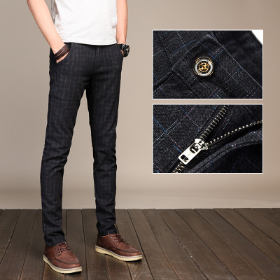 Spring new men's plaid pants British men's casual pants Slim feet pants spring summer men's pants straight jeans