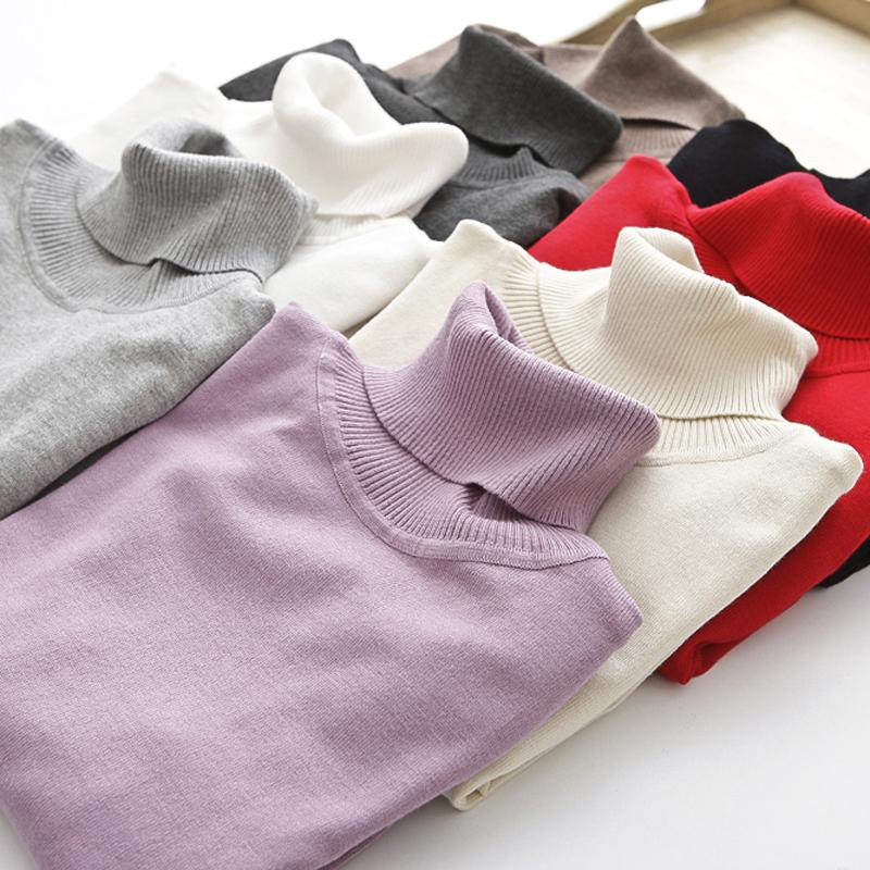 秋冬季新款韩版高领修身毛衣针织衫套头打底衫纯色女大码女装百搭