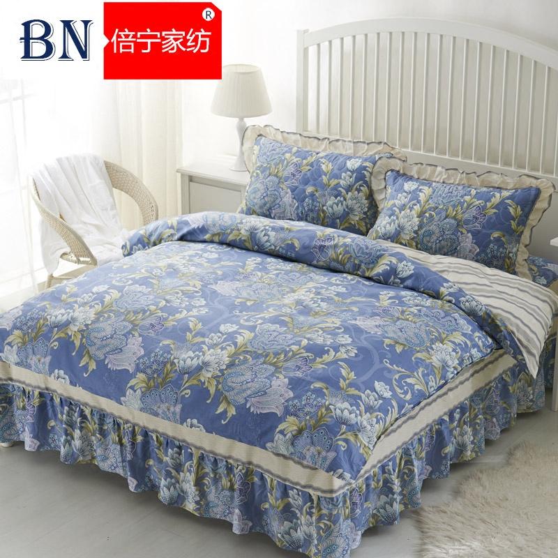 夹棉床裙四件套全棉纯棉被套加厚床罩床上4件套1.5米1.8m床裙式