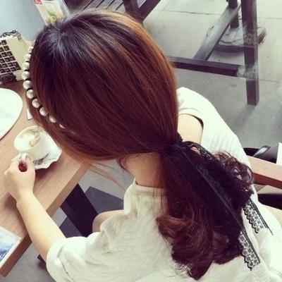 韩国珍珠缠绕蕾丝蝴蝶结绑带飘带发箍发卡头箍发饰品韩版 发带