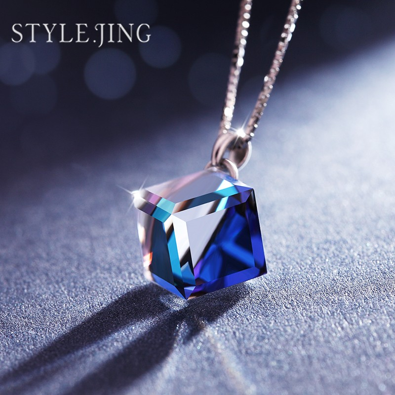 image chain simple collections silver infinite heart jewelry products crystal shaped pendant product blue