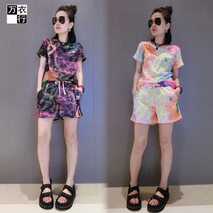 时尚套装女夏2016韩版新款民族风个性条纹无袖休闲短裤两件套装潮