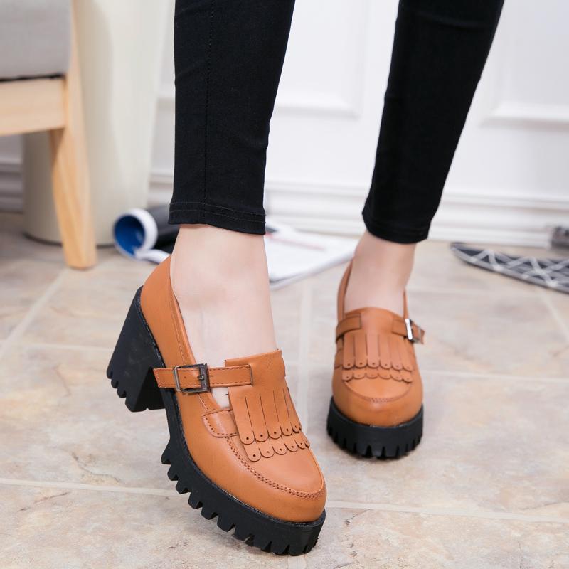 春季新款玛丽珍绒面高跟鞋粗跟红色侧空丁字扣单鞋女浅口中跟凉鞋