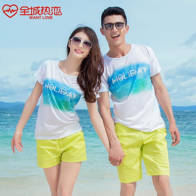 恭喜鹿qlz沙滩情侣装夏装套装2015春装韩版情侣短袖t恤男女班服潮