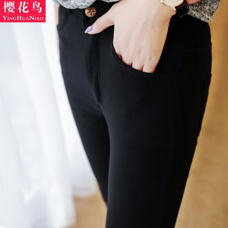 高腰显瘦打底裤女外穿春秋薄款黑色大码紧身春夏九分女裤小脚长裤