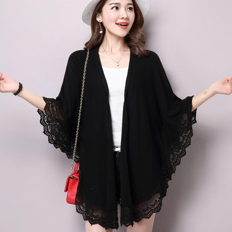 披肩斗篷外套春秋季蝙蝠袖针织开衫女空调薄款夏毛衣宽松大码上衣