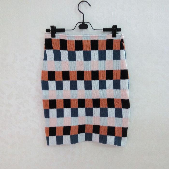 2015秋冬韩国新款灰色修身后摆开叉针织百搭包臀半身裙半截裙