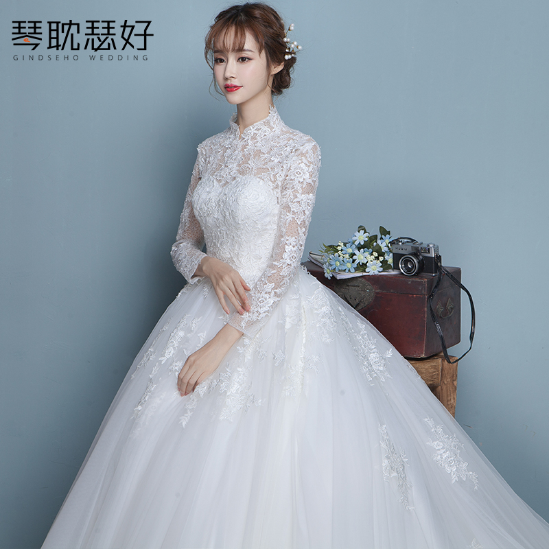 USD 174.30] Wedding dress long tailing bride .. 2018 new stand ...