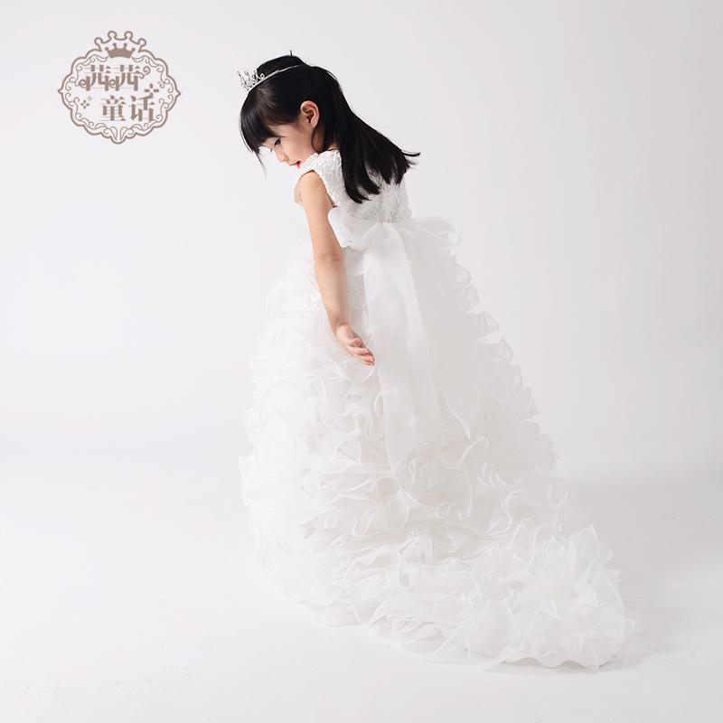 92523c58f USD 259.75  Girls mopping dress long drag tail children dress skirt ...