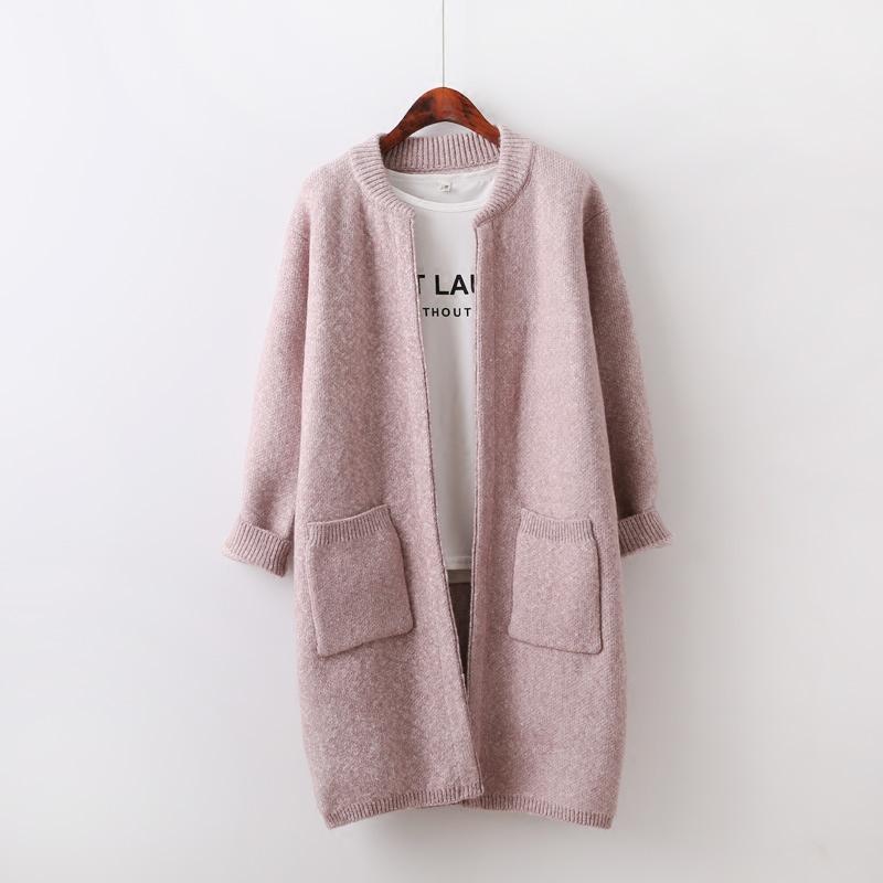 2016春装新款开衫线衣外套女中长款韩版V领春季外搭毛衣新品大衣