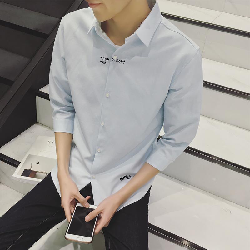 2016春新款日系韩版男士中袖套头衬衫原宿bf风七分袖衬衣格子寸衫