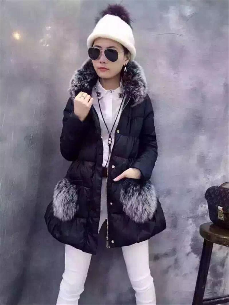 莎丽艾妮6301正品2015冬季新款时尚甜美修身真毛中长羽绒服外套女