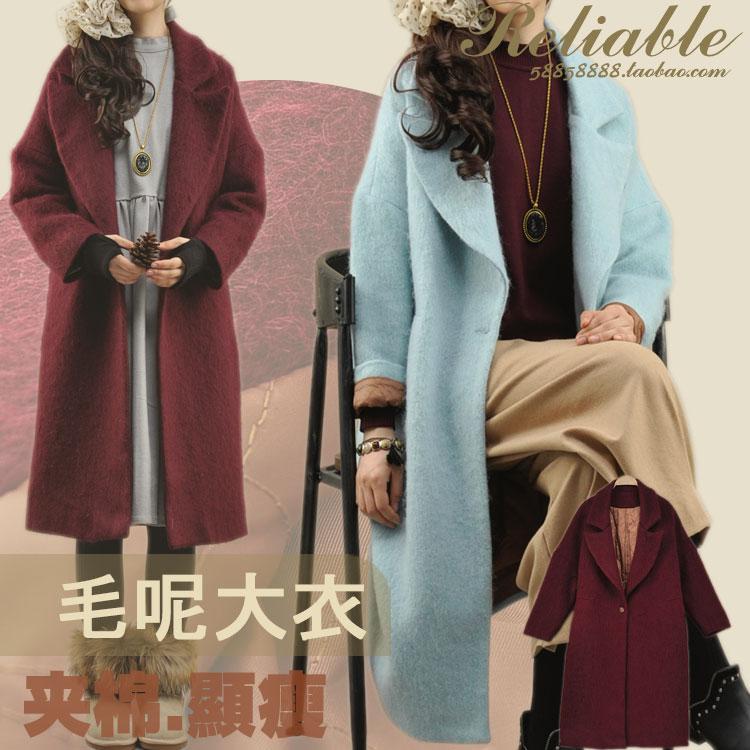 零羽冬季新款韩范棉毛领宽松显瘦长款加厚夹外套呢西装大衣女