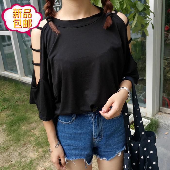 夏装韩范卡通印花短袖女T恤衫初中学生姐妹大码显瘦简约中袖上衣