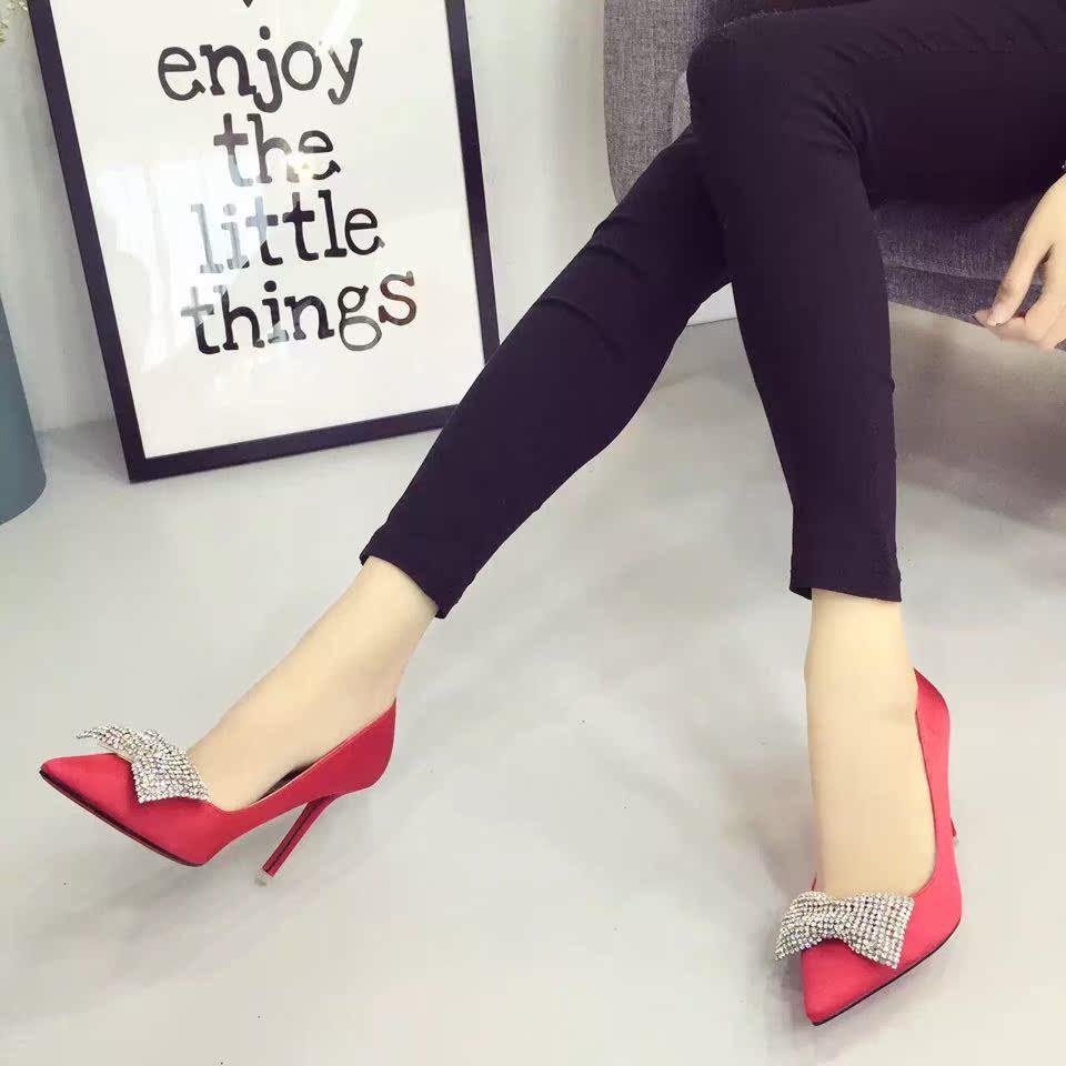 韩版新款甜美一字蝴蝶结绸缎面方头浅口平底鞋单鞋优雅气质女鞋子