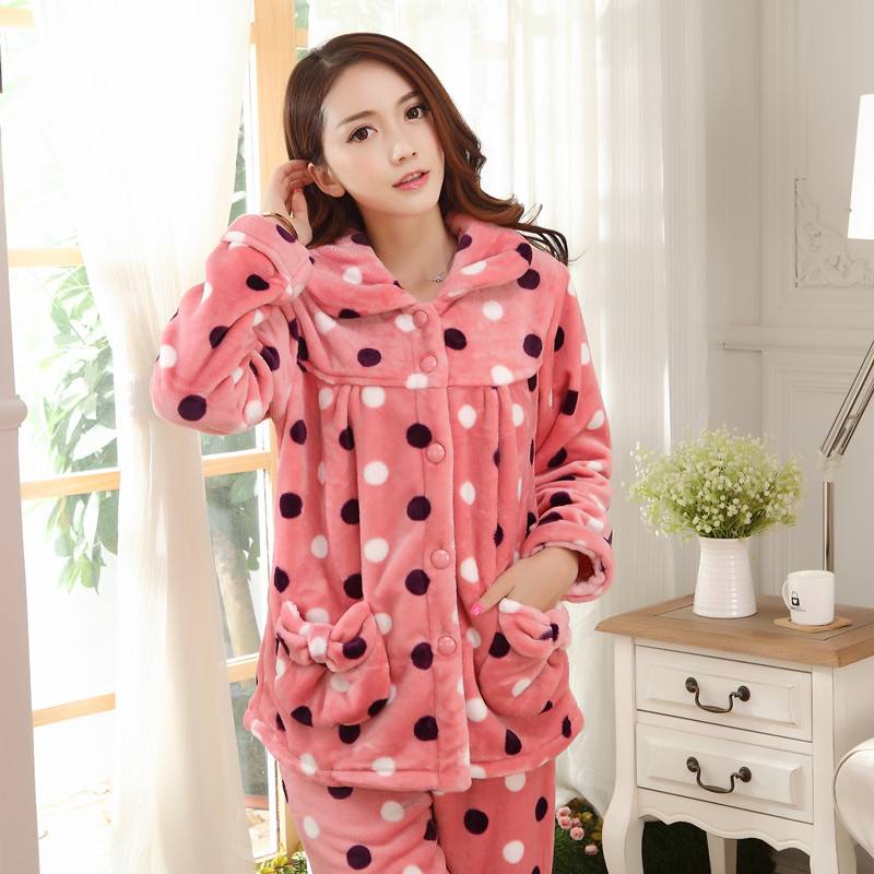 44117caf9d Winter thick coral velvet pajamas female sweet dot autumn and winter  flannel ladies long-sleeved home service suits