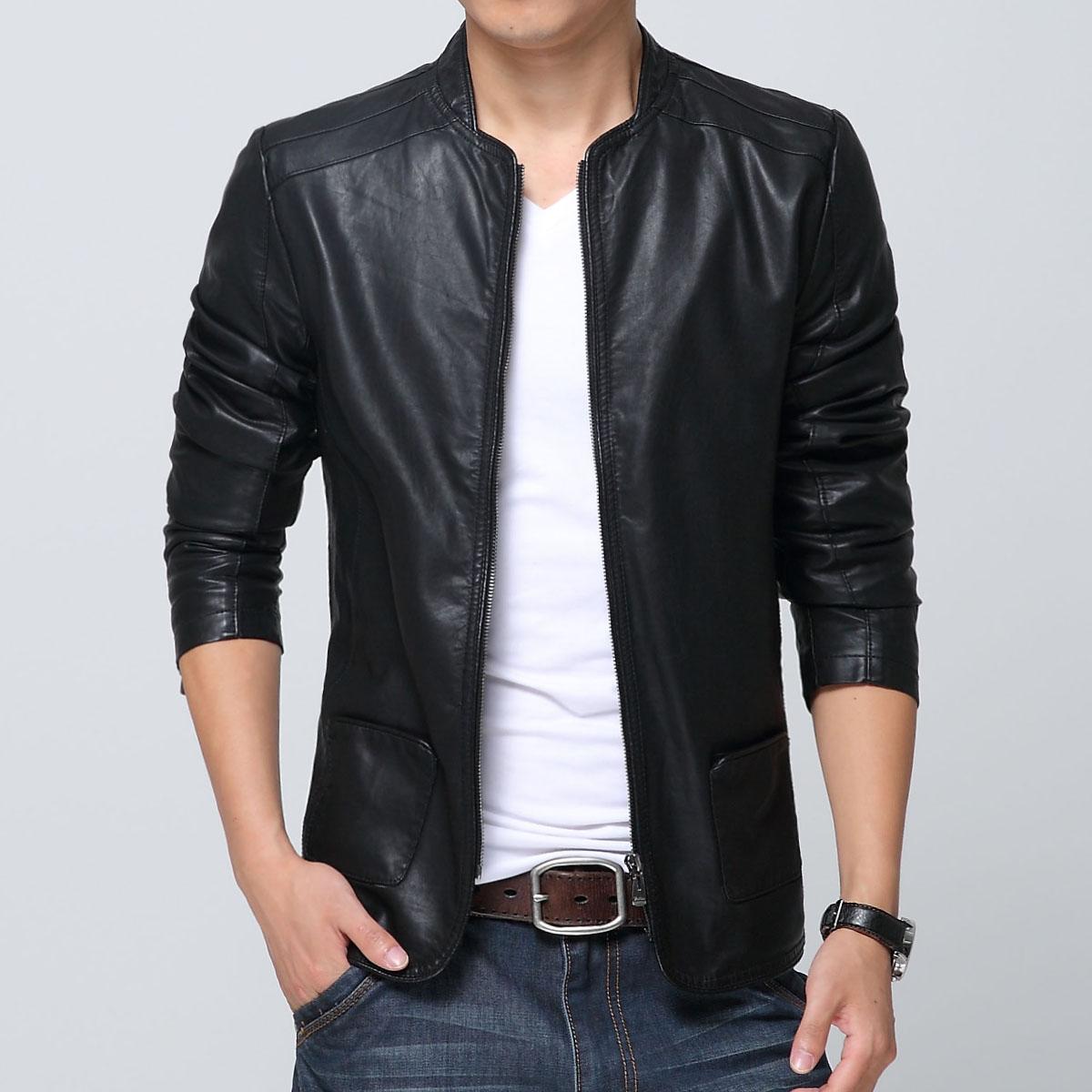 机车皮衣男2015夏季新款韩版修身薄款皮夹克货到付款男装休闲外套
