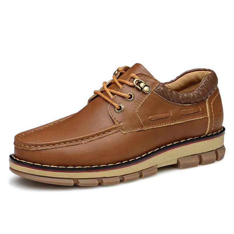 春季英伦休闲男鞋真皮系带男士内增高皮鞋潮男工装大头鞋低帮情侣