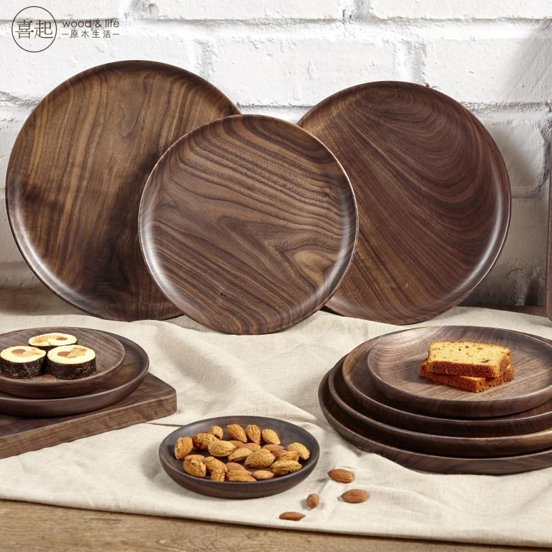 Hi đen quả óc chó gỗ rắn đĩa trái cây tấm gỗ vòng trái cây bằng gỗ tấm khay Nhật Bản trái cây sấy khô đĩa đĩa