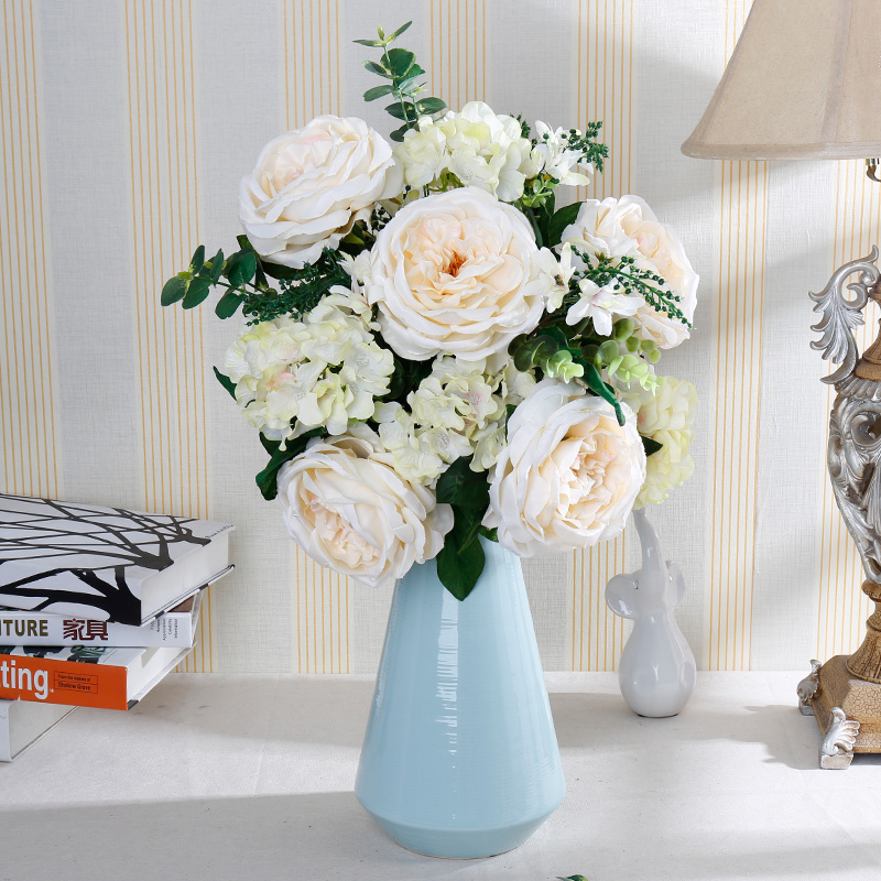 European Style Artificial Rose Flower Simulation Bouquet Large Arrangement Home Dining Table Coffee