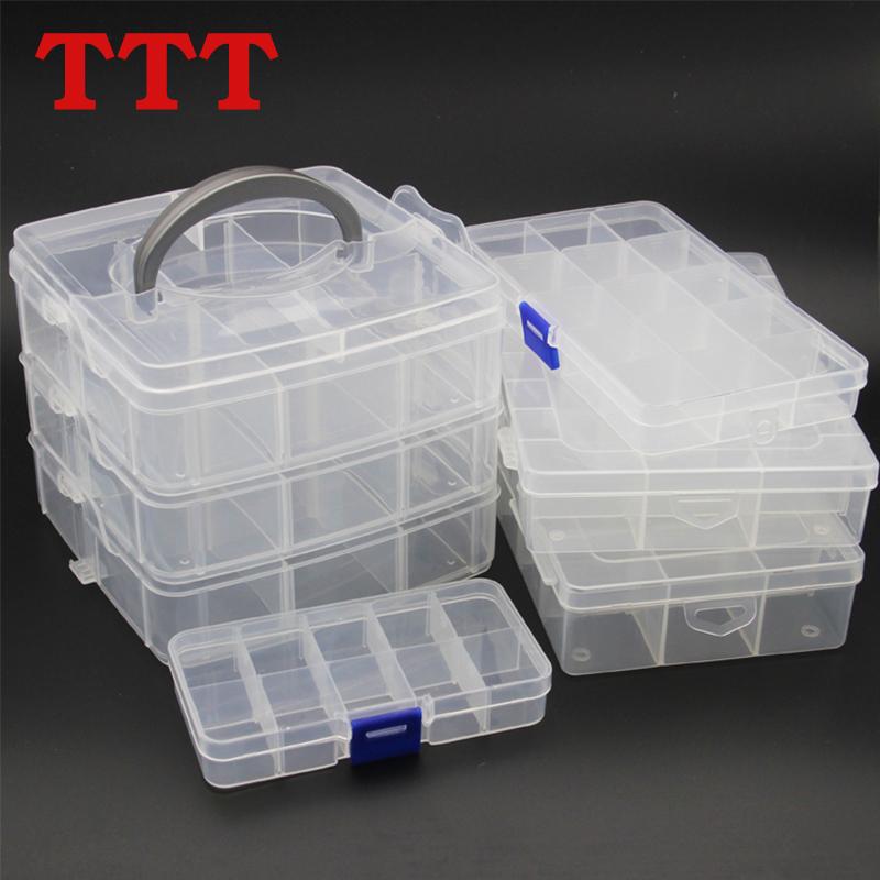 TTT прозрачный пластик кнопки сетка в коробку шкатулка рукоделие коробка ящик для инструментов 10-24 сетка изменение монтаж