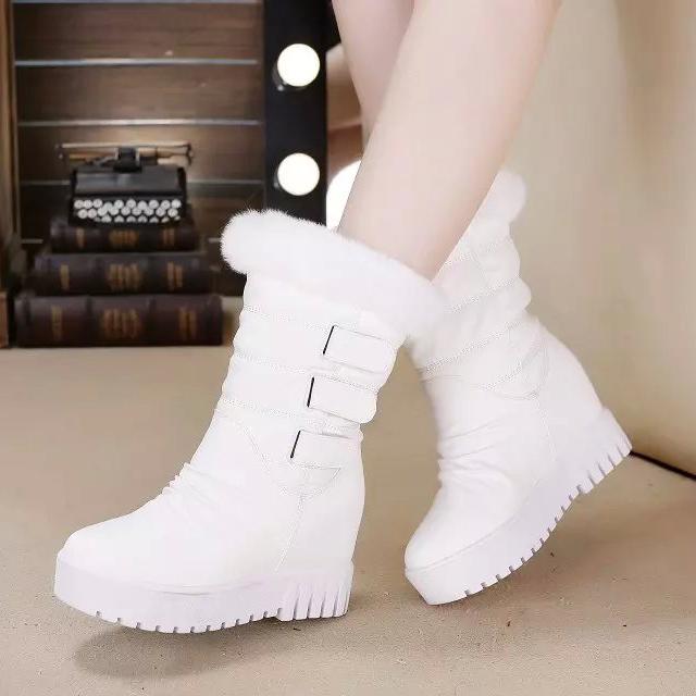 2015冬季新款短靴兔毛雪地靴女内增高厚底加绒棉鞋白色松糕靴女鞋