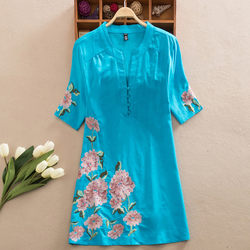 Spring and summer ethnic style embroidery large loose cotton linen women's Short Sleeve Dress Medium Length top retro shirt