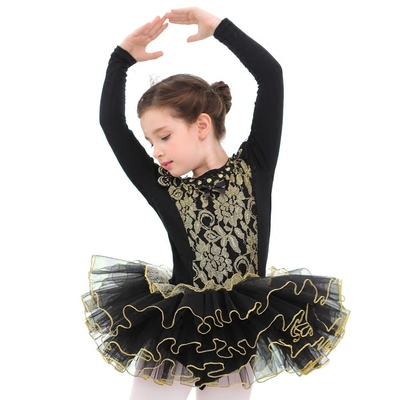 Children's Ballet Dress Dance Practice Clothes Costumes Ballet Skirt Black Long Sleeve Tutu