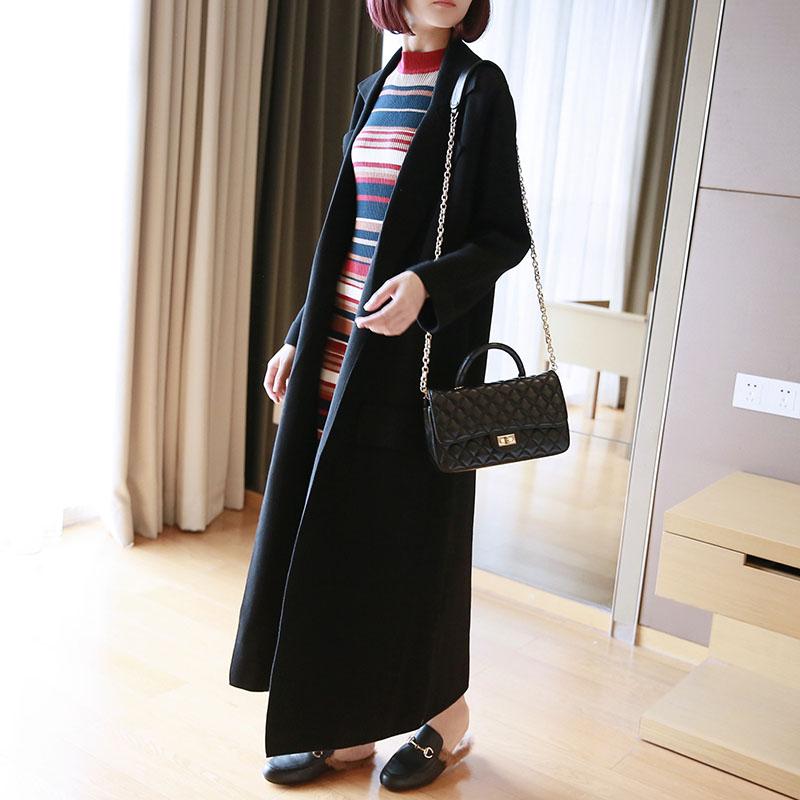 羊毛大码超长款毛衣加厚开衫外套女中长款纯色韩版过膝宽松针织衫