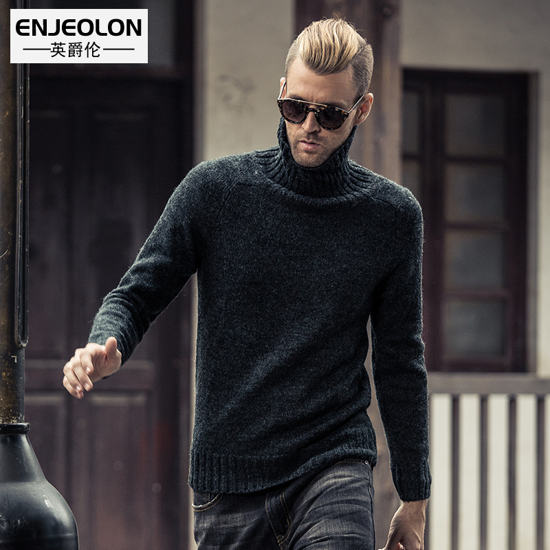 British Viscount Europe simple solid color men's thermal Turtleneck knit sweater wool base shirt sweater