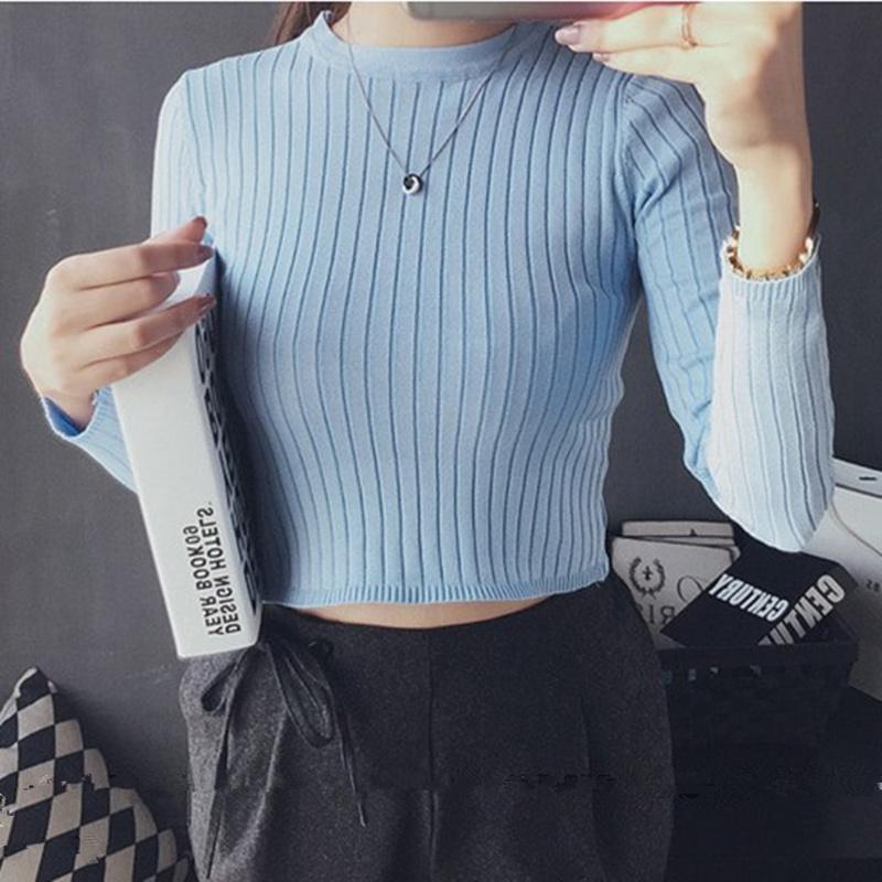 春夏新款v领短袖高腰短款露脐针织衫女 韩版修身弹力性感上衣潮