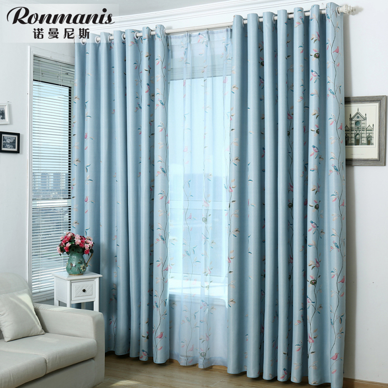 发财树窗帘布料灰色客厅高档书房现代简约遮阳布遮光窗帘成品清仓