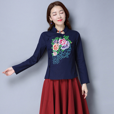 National Wind Women's Spring and Autumn Art Chinese style cotton Tang suit plate buckle shirt retro embroidery Slim long-sleeved shirt